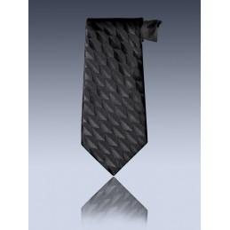 Cravate unie noire motifs hexagones