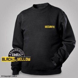 Sweat-shirt noir siglé SECURITE jaune