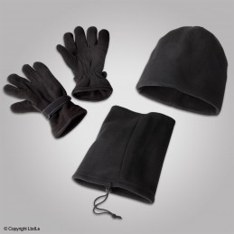 Pack Hiver taille unique : bonnet / gants / tour de cou polaire noir
