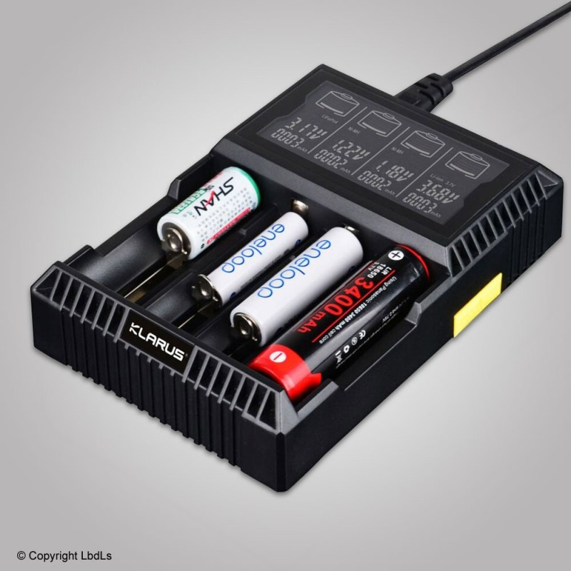 Chargeur Klarus 4 batterie 18650 avec témoin