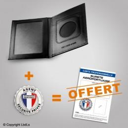 PACK PROMO Porte-carte 2 volets + médaille + carte pro SURETE AEROPORTUAIRE