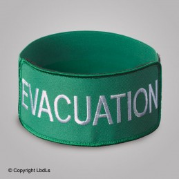 Brassard EXPERT VERT brodé EVACUATION BLANC élastique vert réglable