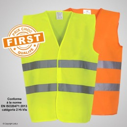 Gilet fluo FIRST jaune ou orange - EN20471