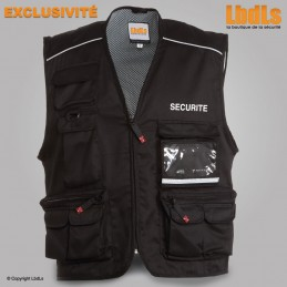 Gilet Pocket noir multipoches brodé SECURITE blanc
