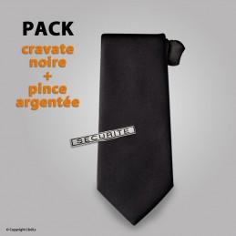 PACK Cravate à élastique unie noire + pince à cravate SECURITE argentée