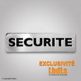 Badge métal SECURITE 6,5 x 2 cm argent