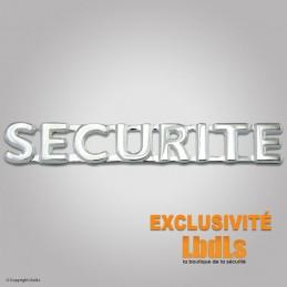 Badge lettres SECURITE 6 x 1 cm argenté  BANDEAUX, ÉCUSSONS ET PATCH à 4,50€