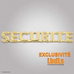 Badge lettres SECURITE 6 x 1 cm doré