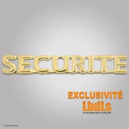 Badge lettres SECURITE 6 x 1 cm doré