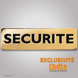 Badge métal SECURITE 6,5 x 2 cm doré