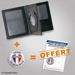 PACK PROMO Porte-carte 3 volets + médaille + carte pro AGENT de SECURITE couleur
