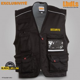 Gilet Pocket noir multipoches brodé SECURITE jaune