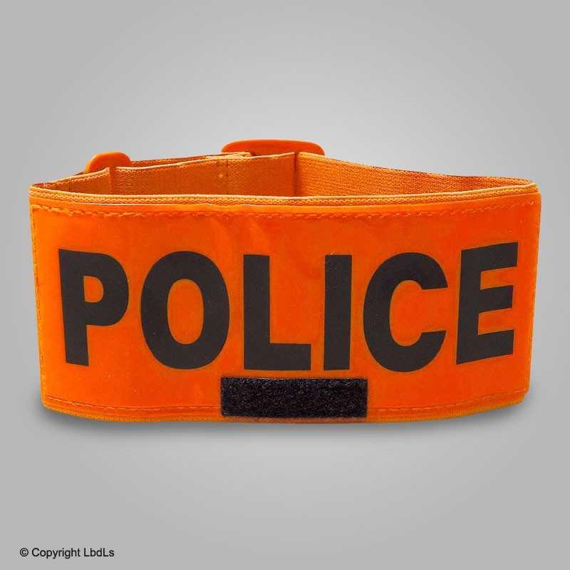 Brassard POLICE fluo 7 cm réglable  BRASSARDS ET BANDEAUX à 9,00€