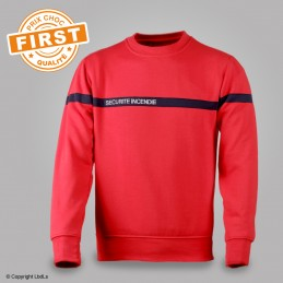 Sweat SSIAP FIRST rouge bande marine brodé