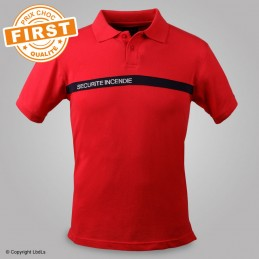 Polo FIRST SSIAP rouge bande marine brodé