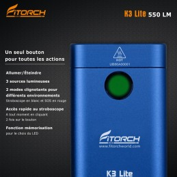 Fitorch K3 Lite bleu - 550 Lumens - 5,6 cm - rechargeable blanc/rouge/UV