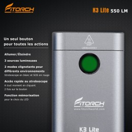 Fitorch K3 Lite silver - 550 Lumens - 5,6 cm - rechargeable blanc/rouge/UV