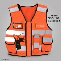 Gilet MULTIPOCKET orange haute visibilité STADIER réglable S à 4XL  SÉCURITÉ à 55,00€