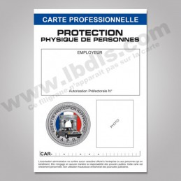Carte PRO PROTECTION avec n° d'identification