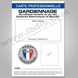 Carte PRO GARDIENNAGE avec n° d'identification