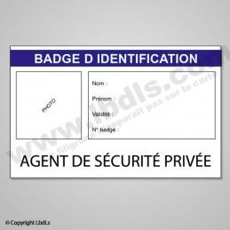 Badge AGENT DE SECURITE PRIVEE  BADGES ET CARTE PRO à 1,31€