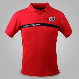 Polo SSIAP G2S rouge bande marine SECURITE INCENDIE