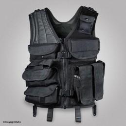 Gilet tactique UNITS multi-poches réglage taille noir UNITS GILETS ET CHASUBLES TACTIQUES à 63,00€